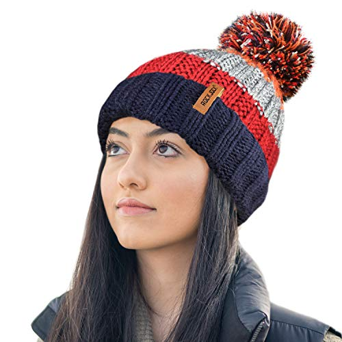 RockJock R80 Thermal Insulating Striped Beanie Bobble Hat with Cosy Fleece Lining-RED/Orange
