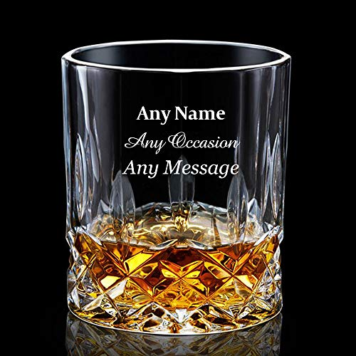 EDSG Personalised Engraved Whiskey Tumbler Glass 7oz Birthday/Anniversary/Wedding Gift for Men Dad Best Man Hand Finished in UK