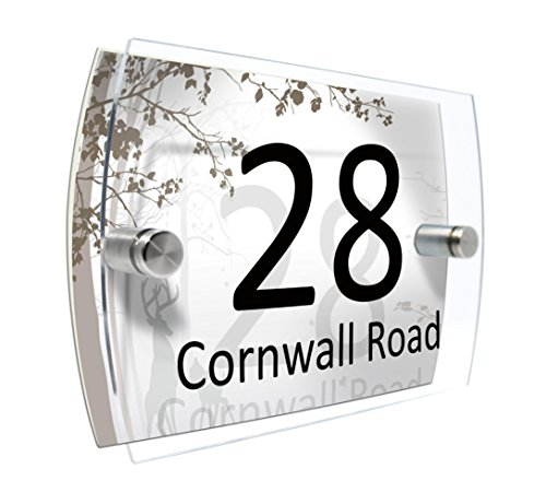 CS Printing House Number Sign Plaque Garden Glass Effect Acrylic Sign Door Plate Marble Wall Display 2 Part Acrylic (Bambi Forest)