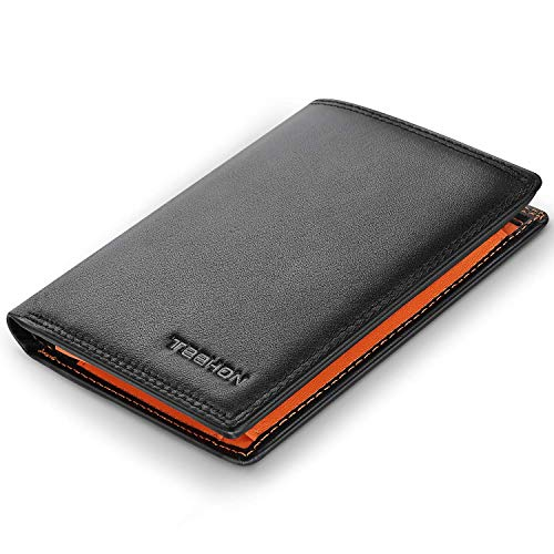 TEEHON® Wallets Mens RFID Blocking Genuine Leather with 12 Credit Card Holders, Coin Pocket, 2 Banknote Compartments, ID Window, Bifold Vertical Wallet for Men with Gift Box- Black and Orange