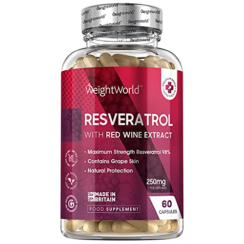 Pure Resveratrol Capsules - 250mg - 60 Capsules - Pure Concentrated Red Grape Extract Complex Rich in Antioxidants, Natural Polyphenol Resveratrol - Pure & Vegan Friendly Formula Made in The EU