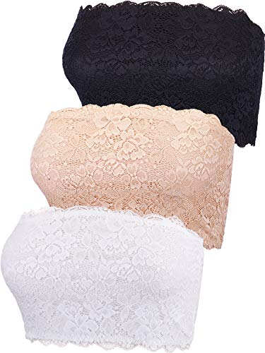 Boao 3 Pieces Women's Floral Lace Tube Top Bra Bandeau Strapless Bras Seamless Stretchy Chest Wrap (Color Set 1, XXL Size)