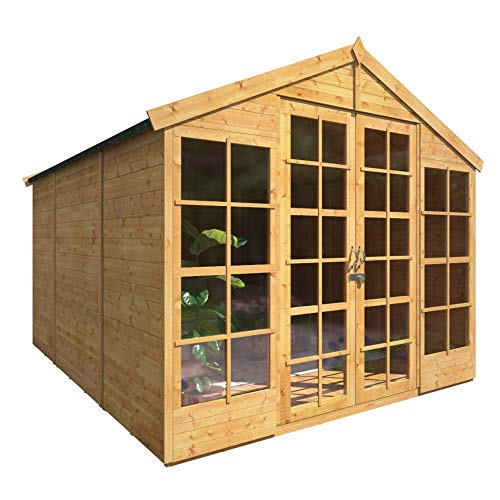 BillyOh 10x8 Harper Summerhouse Tongue & Groove Apex Traditional Wooden Outdoor Summer House Garden Shed Building Cabin Floor and Roof Included