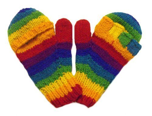 One World is Enough Hand Knitted Fair Trade 100% Wool Rainbow Fingerless Gloves with Mitten Covers aka Smittens