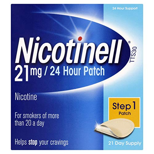 Nicotinell Nicotine Patch, Quit Smoking Aid Step 1, 24 Hour Patch, 21 mg, Pack of 21