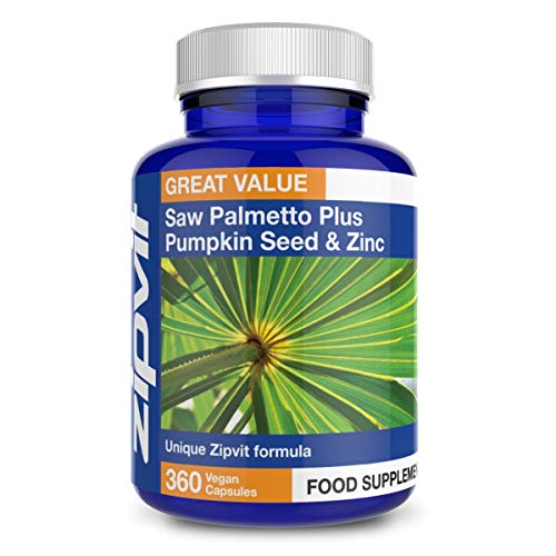 Saw Palmetto Plus Pumpkin & Zinc, 360 Vegan Capsules. Ideal Supplement for Men - Saw Palmetto with Added Zinc to Maintain Normal Testosterone