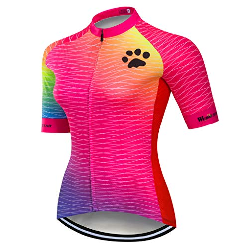 weimostar Cycling jersey Womens MTB Bike jersey zip Shirts Short sleeve Mountain Road Bicycle Clothing Pro team racing cycle Tops for ladies female Breathable quick dry pink Size XXL
