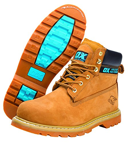 OX OX-S242510 Safety Boots - Industrial Grade Honey Nubuck Safety Boots with Steel Toe Cap - Tan - Size 10