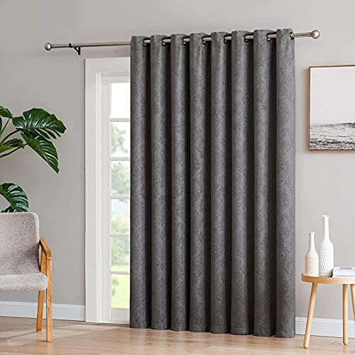 Single Thermal Door Curtain 66 x 84 with Tieback - Super Soft Room Darkening Curtains for Living Room Bedroom Curtains – Grey Curtains