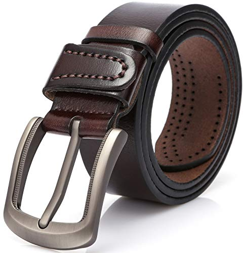 DOVAVA Mens Leather Belt Anti-scratched Buckle Soft Genuine Belts for Casual Jeans Dress (Dark Coffee 2001, 115CM(34'' - 38''))