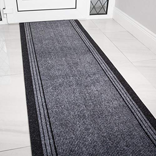 The Rug House Grey Rubber Backed Very Long Hallway Hall Runner Narrow Rugs Custom Length - Sold and Priced Per Foot 6ft