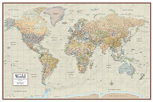 A1 World Wall Map Contemporary Elite Edition, Laminated, 92cm x 61cm by Swiftmaps