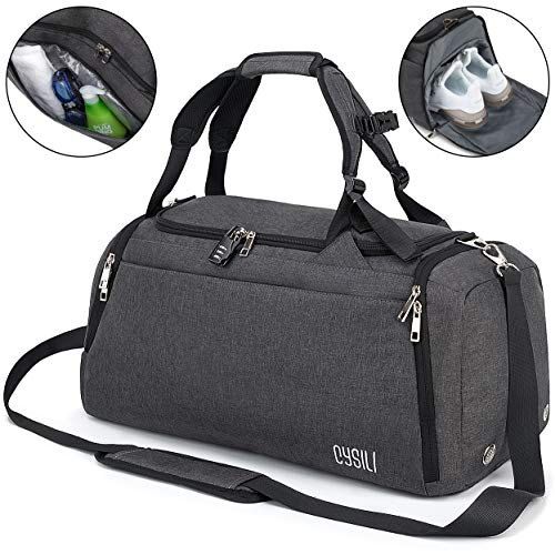 Sports Duffle Bag with Shoes Compartment and Wet Pocket, 42L Waterproof Gym Bag for Men and Women, Durable Travel Duffel Bag with Shoulder Strap and Combination Lock (A-Dark Grey)