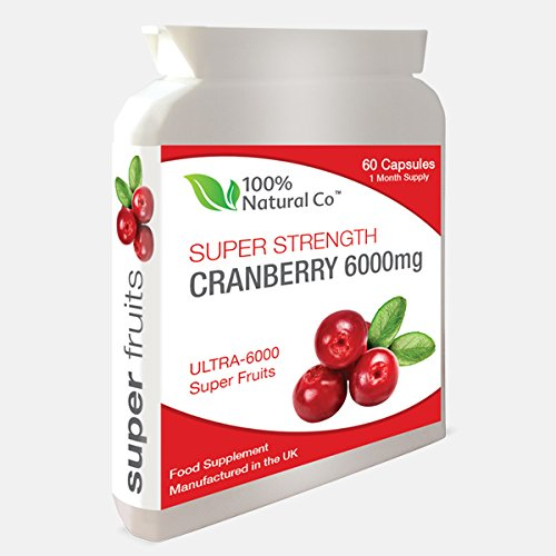Super Strength Cranberry Capsules 100% Natural Co - Urinary Tract Healthy, Cystitis Infection Relief