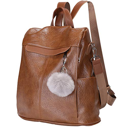 Women Backpack Waterproof Anti-theft Lightweight PU Leather Fashion Purse Shoulder Bag Travel Backpack Ladies (Brown)