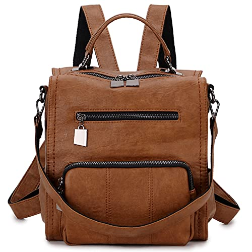 Women Backpack,Small PU Leather Backpack Fashion Ladies Backpacks Rucksack 3 Way Casual Schoolbags Brown(Size:S)
