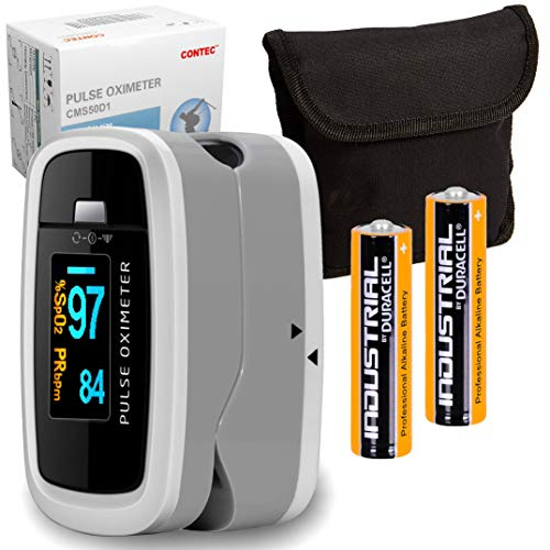 CONTEC HD D1 LCD Fingertip Pulse Oximeter Blood Oxygen SpO2 Heart Rate Monitor Meter   Batteries + Carry Pouch