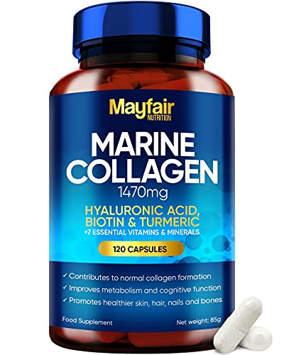 Marine Collagen Tablets - 120 High Strength Capsules - 1470mg Complex with Hyaluronic Acid, Biotin, Turmeric, Vitamin C, E, B2, D3 & 3 Minerals - Hydrolyzed Collagen Supplements for Women - Made in UK