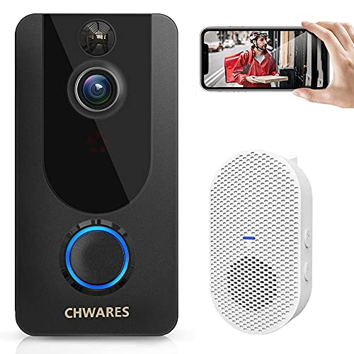 CHWARES Video Doorbell Camera with Chime, Wireless WiFi, 1080p HD, Home Security, Motion Detection, 2-Way Audio, Night Vision, IP65 Waterproof, Battery Powered, Free Cloud Storage