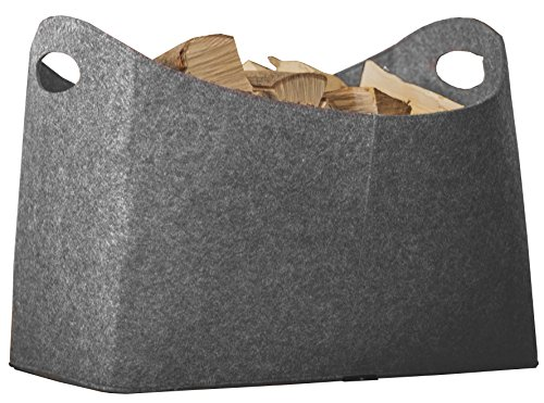 Rubberneck Felt Firewood Basket XL with Handles for Wood, Newspapers, Magazines, 54 x 39 x 30 cm (Grey)