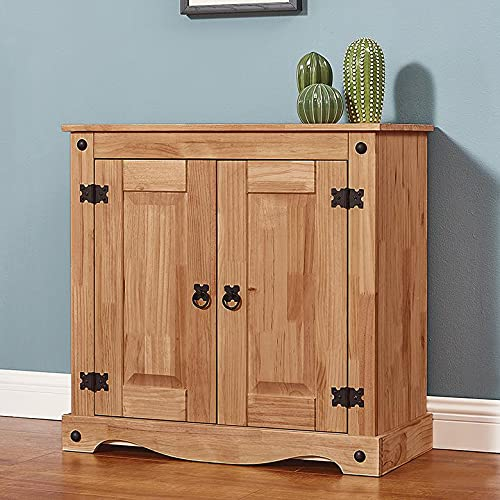 Solid Pine Wood 2 Door Small Sideboards Mexican Style Storage Cabinet Cupboards for Bedroom Living Room Hallway W 75 x D 33 x H 73cm