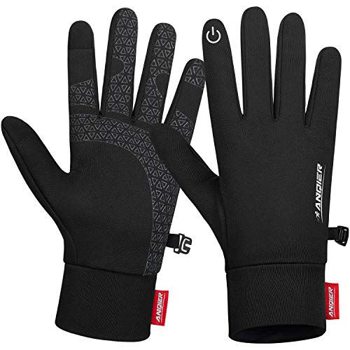 Benirap Winter Thin Thermal Gloves, Lightweight Anti-Slip Touch Screen Gloves, Running Hiking Climbing Cycling Gloves for Men Women Ladies, Liner Gloves for Driving Riding Skiing