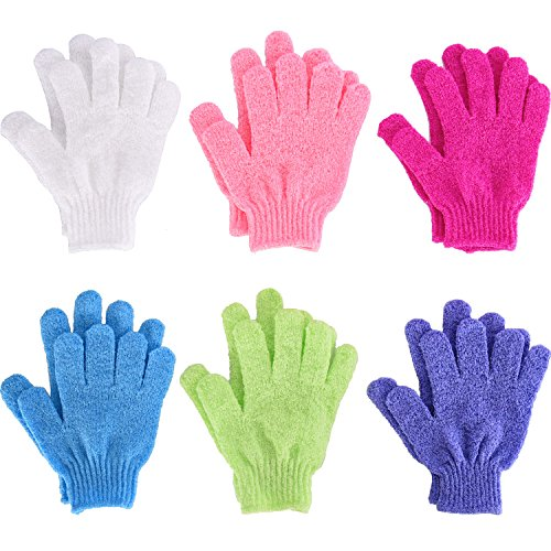 6 Pairs Double Sided Exfoliating Gloves Body Scrubbing Glove Bath Scrubs for Shower, 6 Colors