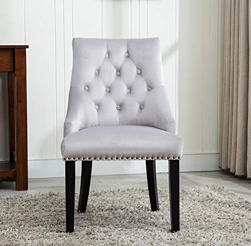 MCCDirect Tufted Velvet Fabric Studded Dining Chair Upholestered Accent Side Chair Victoria [ Grey * Light Grey * Blue * Black ] (LIGHT GREY)