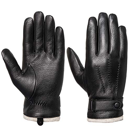 Men's Touchscreen Genuine Leather Gloves - Acdyion Cashmere Lining & Cashmere Cuff Nappa Gloves Outdoor Driving Winter Warm Mittens Luxury leather Gifts (Small), Black, S