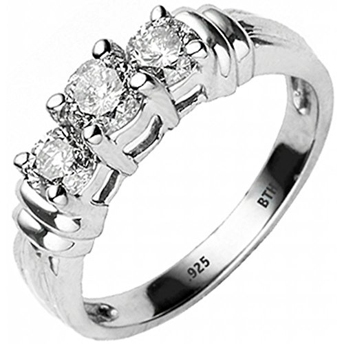 BestToHave Ladies Ring -925 Sterling Silver Luxury Unique Round Cut Simulated Diamonds CZ 3 Stones Design Affordable Wedding Engagement Ring - Size V