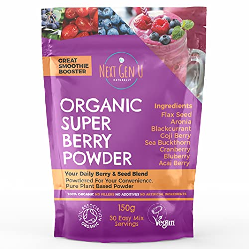 Organic Super Berry Powder 150g - Featured in The Vegan Magazine | Vegan Superfood Blend Supplement |Includes Goji, Flax Seed, Blueberry, Acai |Vegan Society and Soil Association Certified