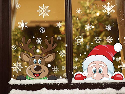FINGOOO 74 pieces Peeping Santa and Rudolph- Christmas Window Stickers Clings Snowflake Decal Window Decoration, 6 Sheets