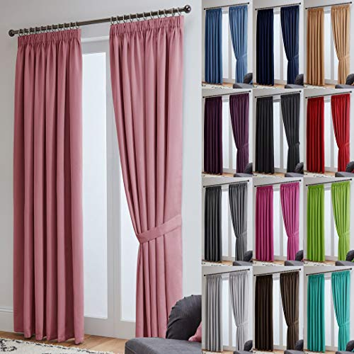 John Aird Thermal Energy Saving Blackout Tape Top Curtains - Free Matching Tiebacks Included (Pink, 117 x 137cm (46