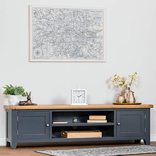 The Furniture Outlet Hampshire Blue Painted Oak Extra Large TV Unit