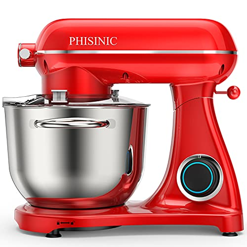 PHISINIC Food Stand Mixer, 6.5L 1800W Kitchen Electric Mixer with Power Hub for Attachment, All Metal Die-cast Aluminum Mixer with Bowl, Dough Hook, Whisk, Beater(Dishwasher Safe) - Red