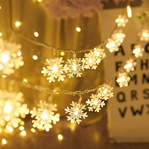 Adispotg Snowflack Fairy Lights, 20ft 40 LED BatteryPowered String Lights, 2 Lighting Modes, Decoractive for Indoor Outdoor, Bedroom, Wedding, Party,Birthday, Valentine, Christmas, Tree Decoration