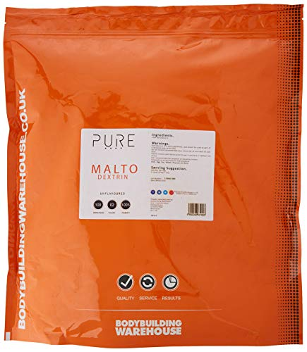 Bodybuilding Warehouse Pure Maltodextrin Carbohydrate Powder, Replenishes Muscle Glycogen Levels, White, Unflavoured, 2 kg