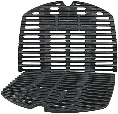 GFTIME 7645 Cast Iron Cooking Grate Grids for Weber Q200, Q220, Q2000 Series, Q2400 Gas Grill, Barbecue Grill Parts Grill Grids Replacement for Weber 7645 65811, 54.61CM x 38.74CM