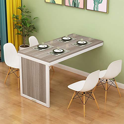Multifunction Wall Mounted Drop-Leaf Table Wooden Folding Dining Table,Wall Hanging Home Office Living Room Bedroom Floating Computer Study Desk,Space Saving,White Steel Frame,Gray(120x60cm/47x24in)