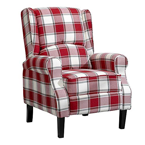 HUISEN furniture Living Room Comfy Recliner Armchair Red Checked Fabric Upholstered Wing Back Chairs with Arms for Lounge Bedroom Home Gaming (Red Tartan)
