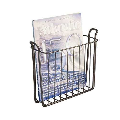 iDesign 68911 Classico Magazine Rack, Wall Mounted, Ideal Bathroom Storage Solution, Made of Metal, Bronze