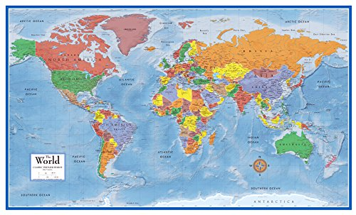 Swiftmaps 92cm x 61cm Laminated World Premier Wall Map Mural Poster A1