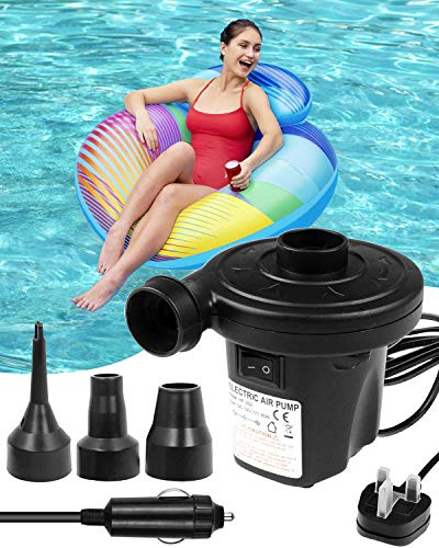 E-Smarter Electric Pump for Paddling Pool, 220-240V/150W Electric Pump for Blow up Bed, Quick-fill Inflator and Deflator for Air Bed Paddling Pool, Pool Pump with 3 Nozzles and Car Charger
