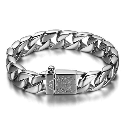JewelryWe Chunky Heavy Mens Stainless Steel Curb Chain Bracelet in Silver Colour 9 Inches High Polished with Beautiful Shine (with Gift Bag)