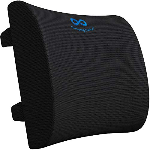 Everlasting Comfort Lumbar Support Pillow for Office Desk Chair and Car Seat - Pure Memory Foam Lower Back Cushion (Black)