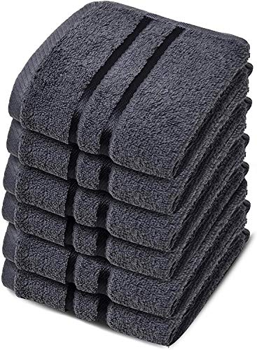 Towelogy® Luxury Egyptian Cotton Face Cloth Flannel Fingertip Towels Set 500 GSM Supersoft and Highly Absorbent Washcloths 30x30 cm (Charcoal Grey, Pack 4)