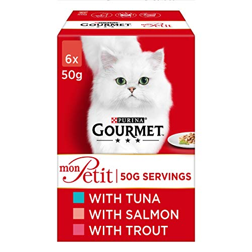 Gourmet Adult Wet Cat Food Pouch Tuna/Salmon/Trout Pouch, 6 x 50g - Pack of 8
