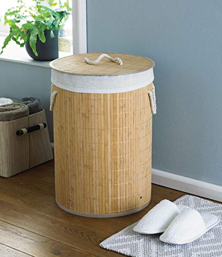COUNTRY CLUB Round Bamboo Laundry Hamper Basket Clothes Storage Organizer with Lid, Natural, 35 x 35 x 50cm