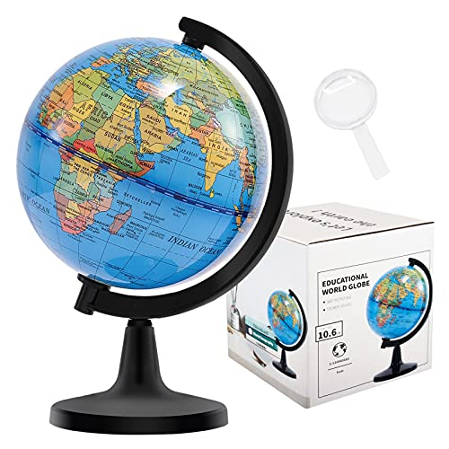 Fun Lites 10.6CM World Globe for Kids Learning, Educational Rotating World Map Globes Mini Size Decorative Earth Children Globe for Classroom Geography Teaching, Desk & Office Decoration