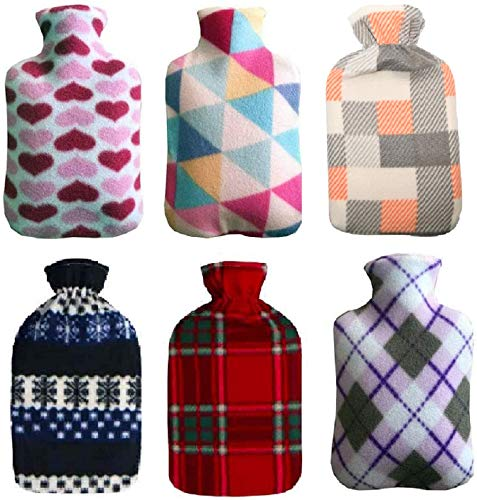 Ram® Large 2L Hot Water Bottle with Soft Fleece Cover